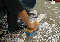 Hand washing of an Oriental rug in the Manhattan Beach area.