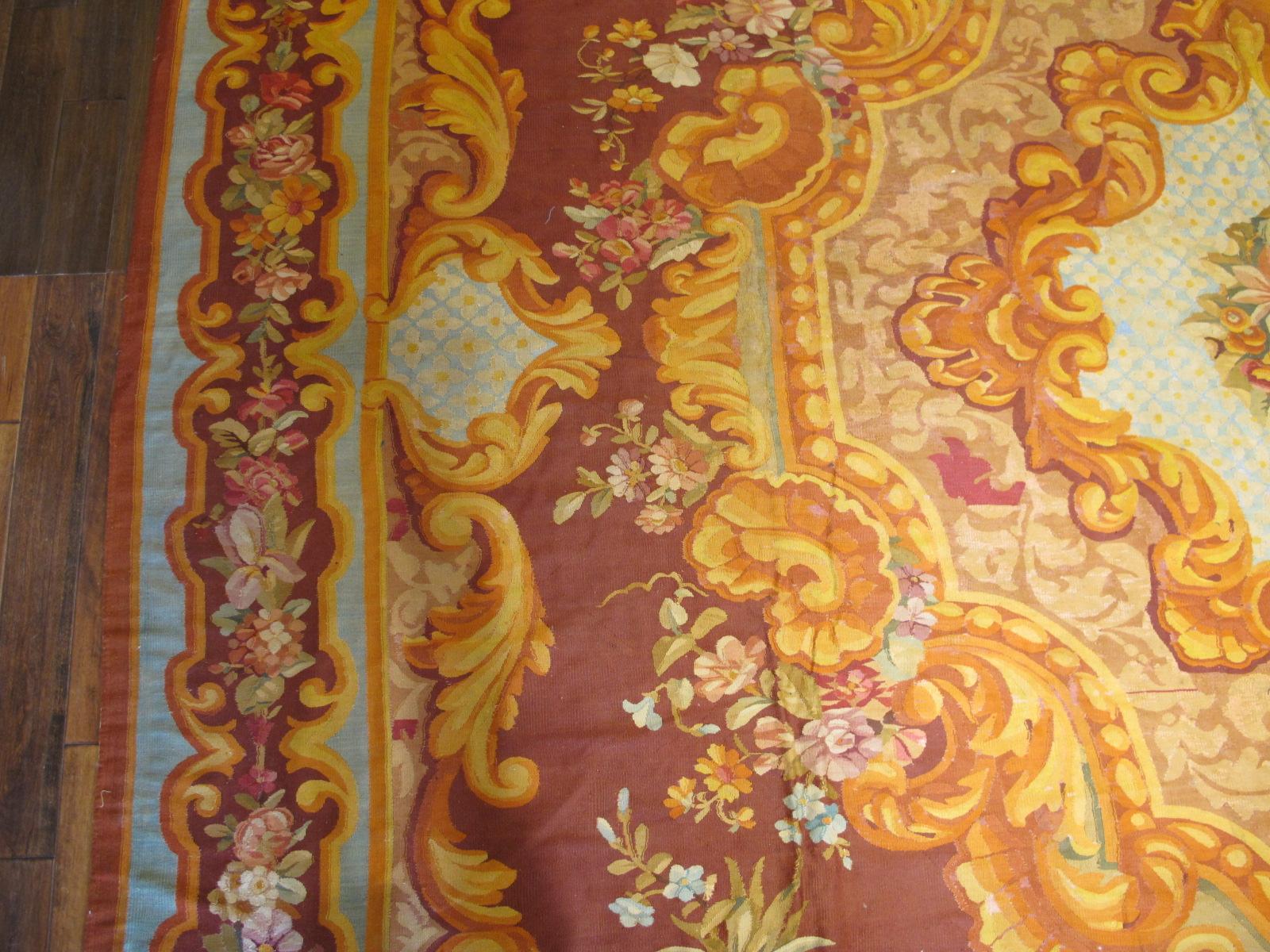23660 Antique French Aubusson carpet 15 x 15,4 (3)