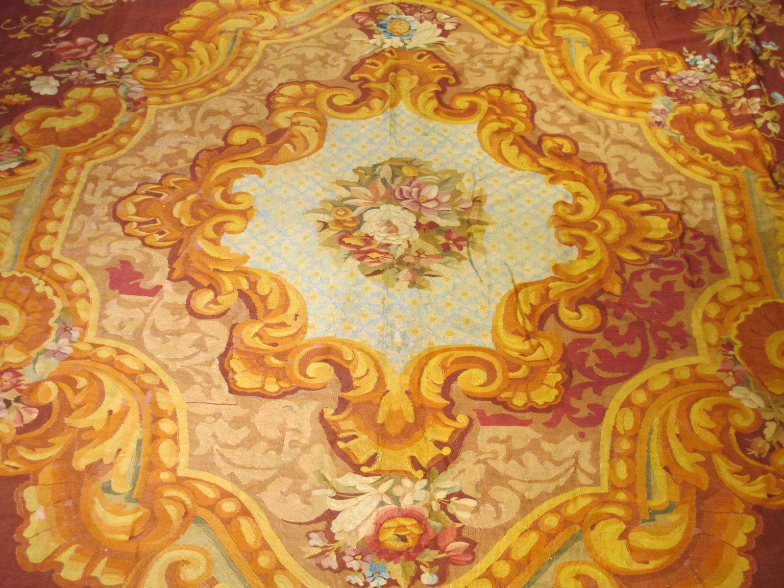 23660 Antique French Aubusson carpet 15 x 15,4 (4)
