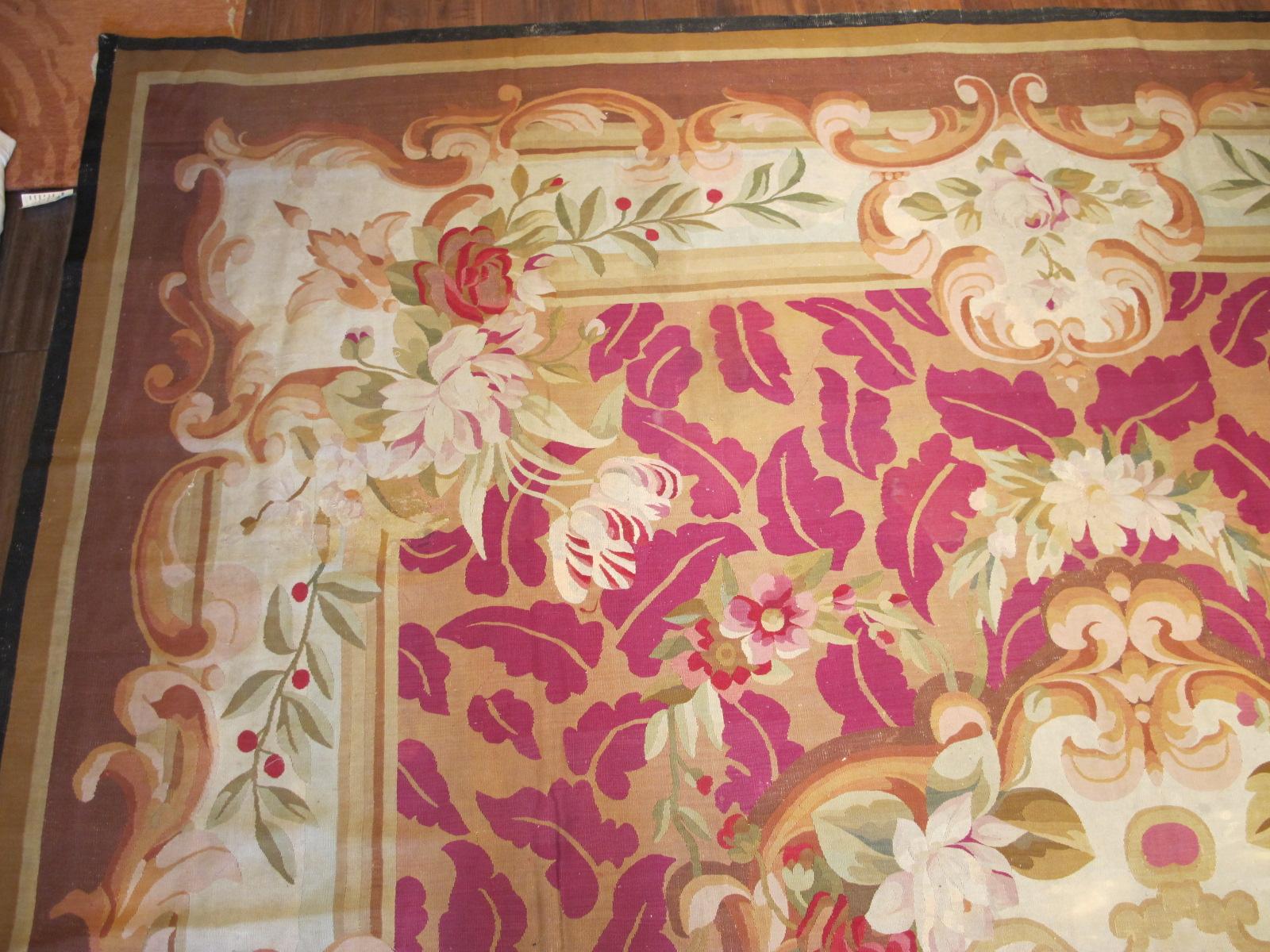 23661 Antique French Aubusson carpet 13,8 x 16 (2)
