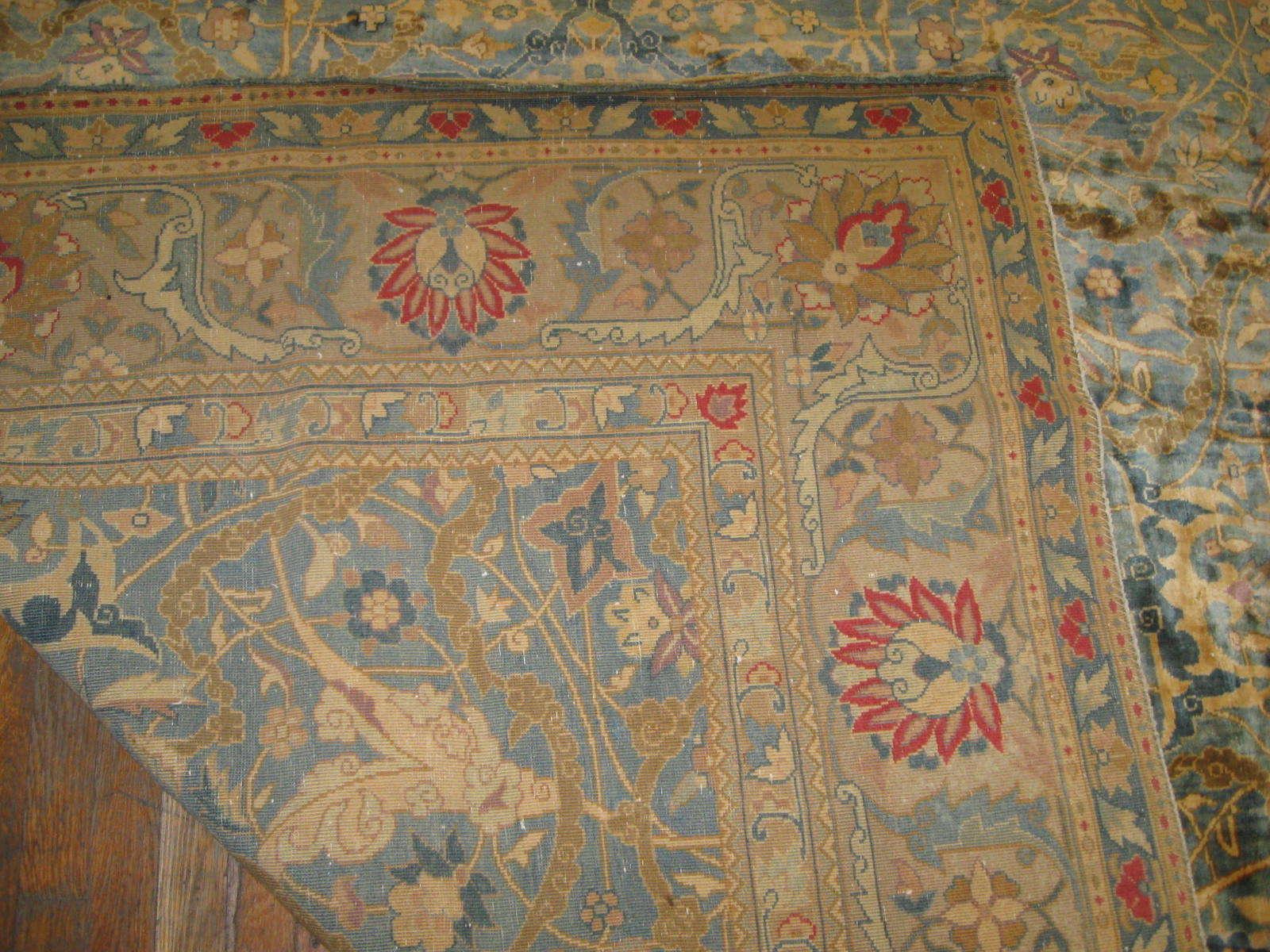 24263 antique  Indo Tabriz carpet 22,6 x 23 (2)