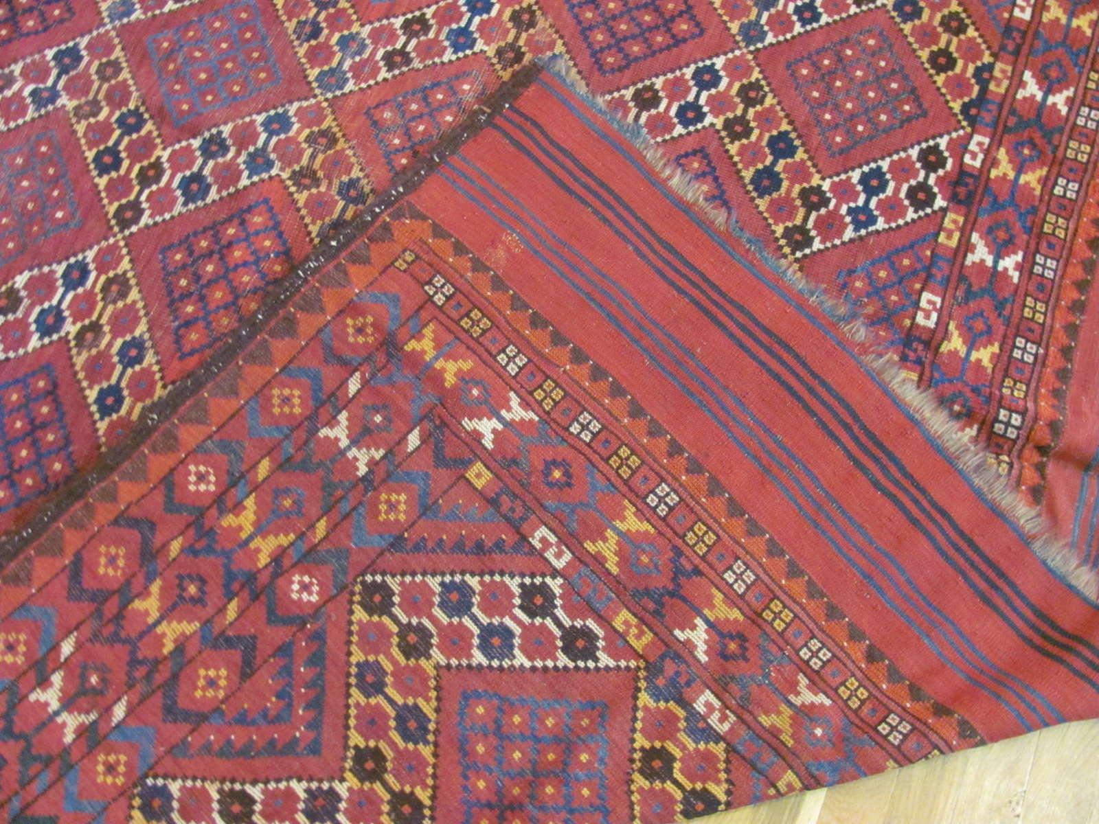 24283 antique Afghani Beshir carpet 7,3 x 17,7 (1)