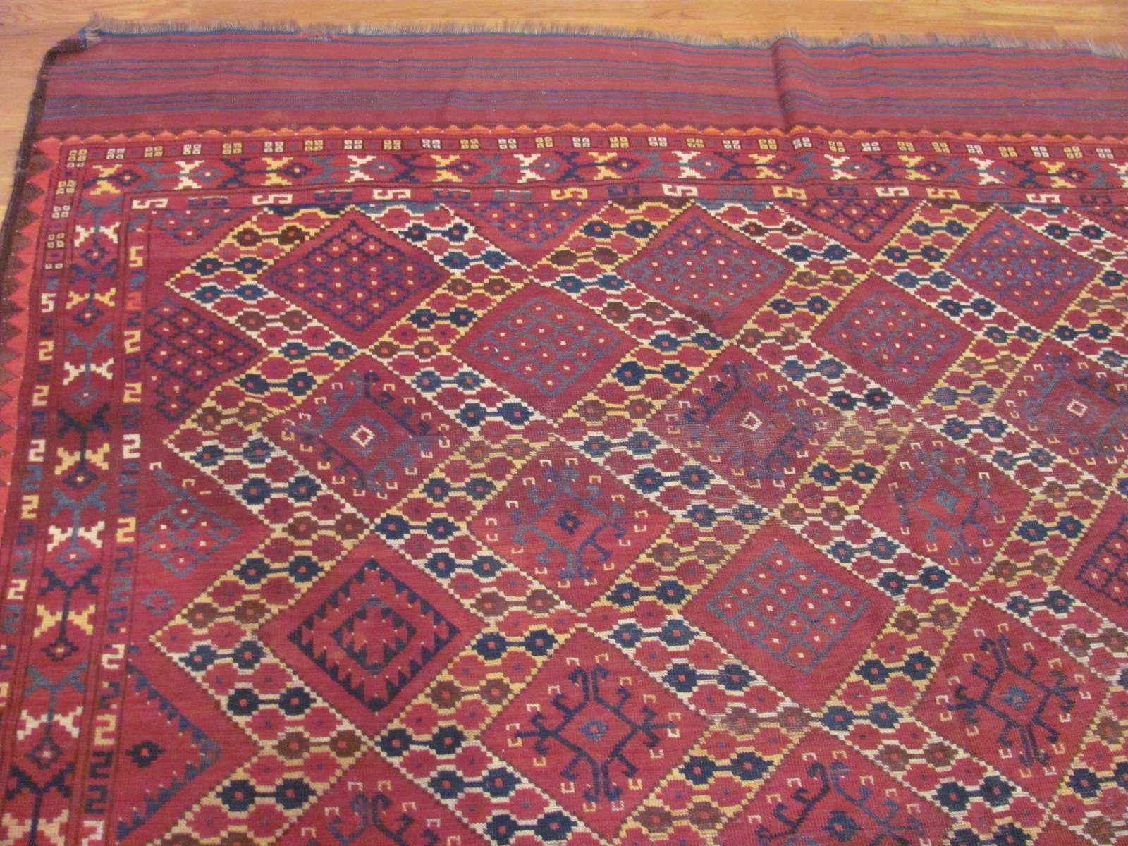 24283 antique Afghani Beshir carpet 7,3 x 17,7 (3)