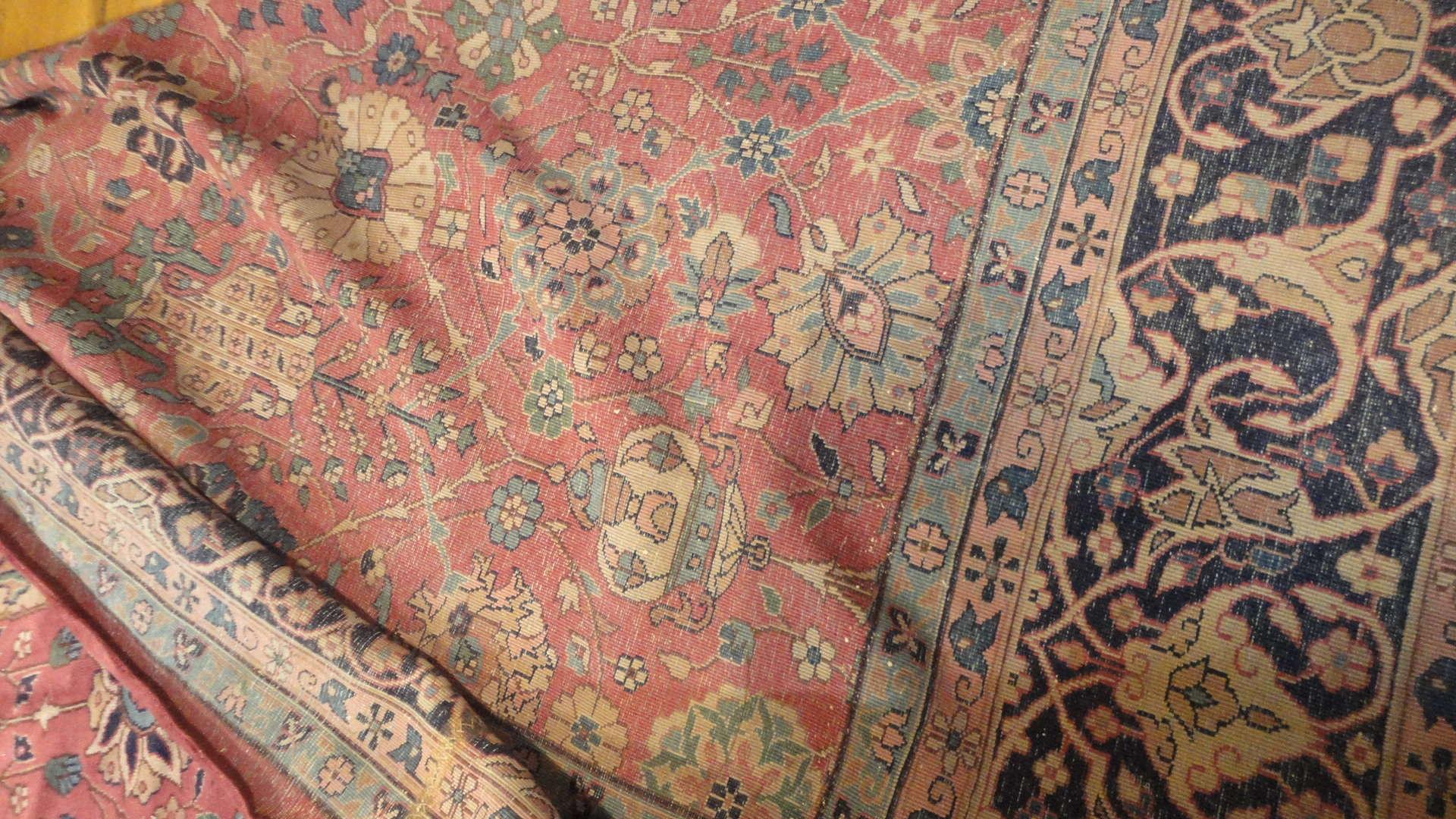 24299 antique  Indo Tabriz carpet 17 x 18 (2)