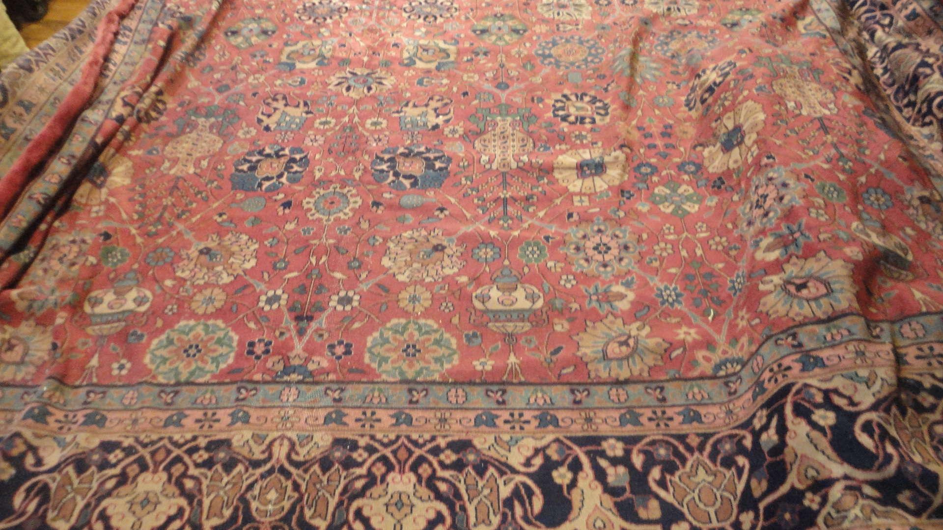 24299 antique  Indo Tabriz carpet 17 x 18 (3)