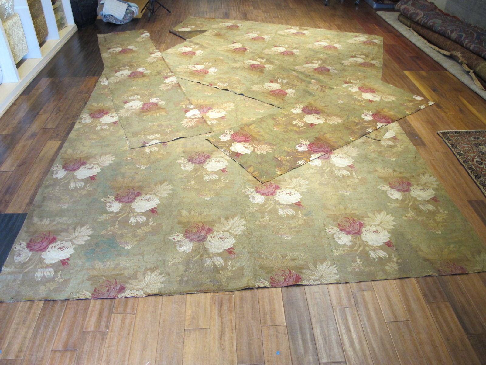 13038 Group of 4 European Jacquard loom rugs
