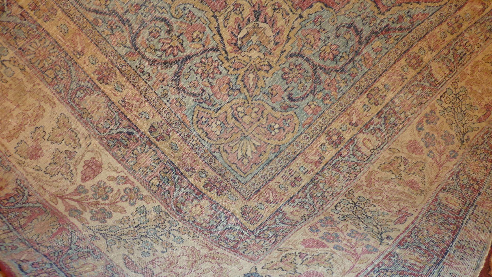 24407 antique Persian Kerman Lavar 10,6 x 12,3 -2