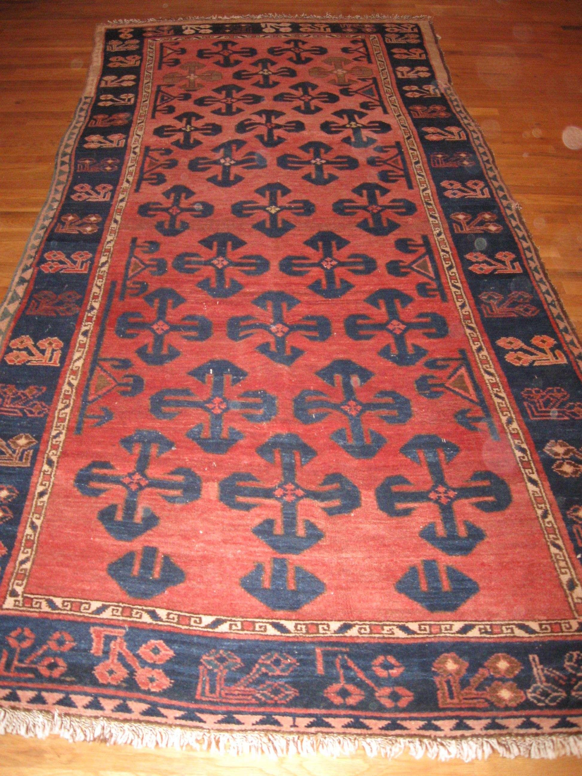 24439 antique East Turkestan Khotan gallery rug 4,10x10,8