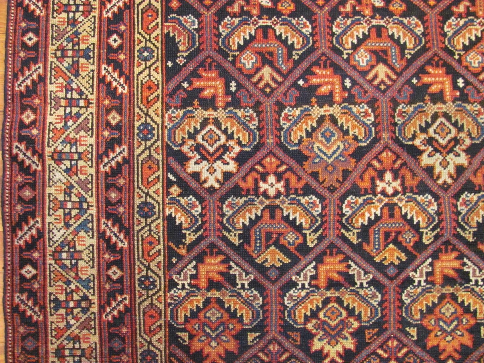 24502 Antique Persian Malayer rug 4,10 x 9,8 -1
