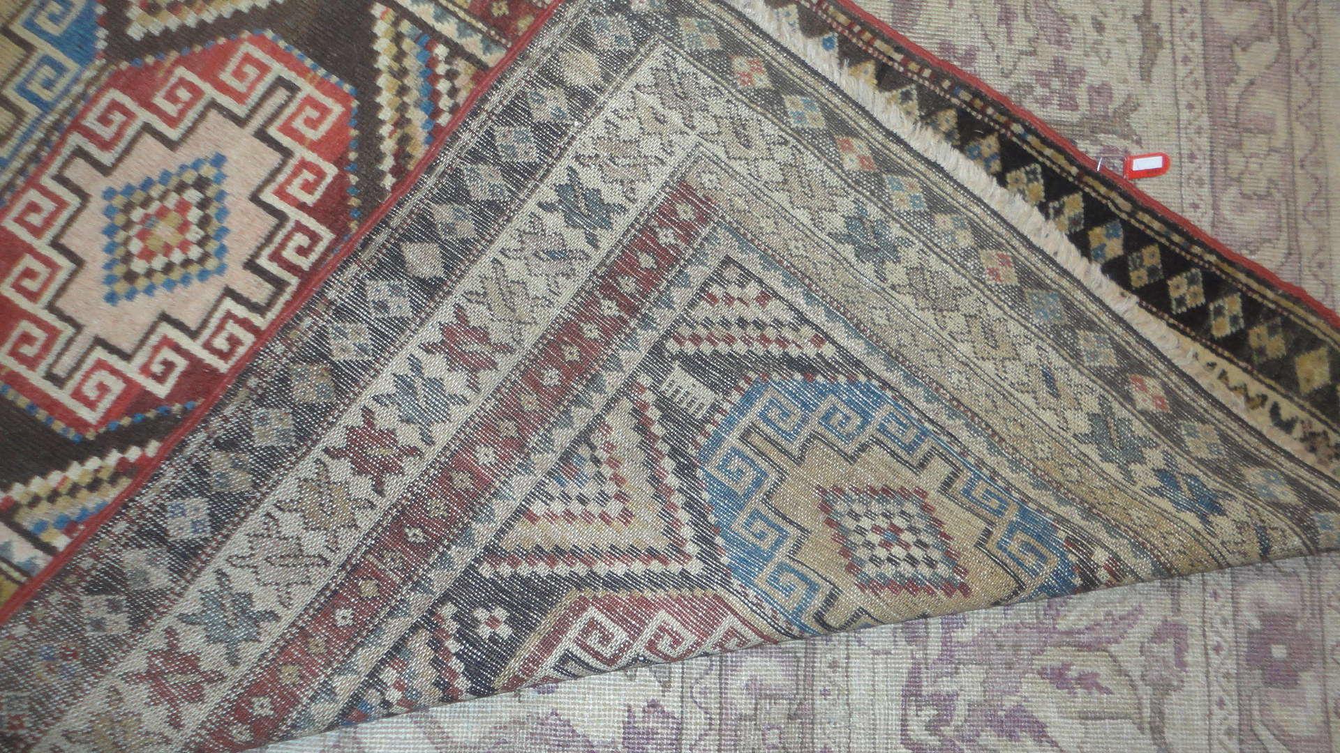 24565 antique persian kurd rug 3 x 7 -3