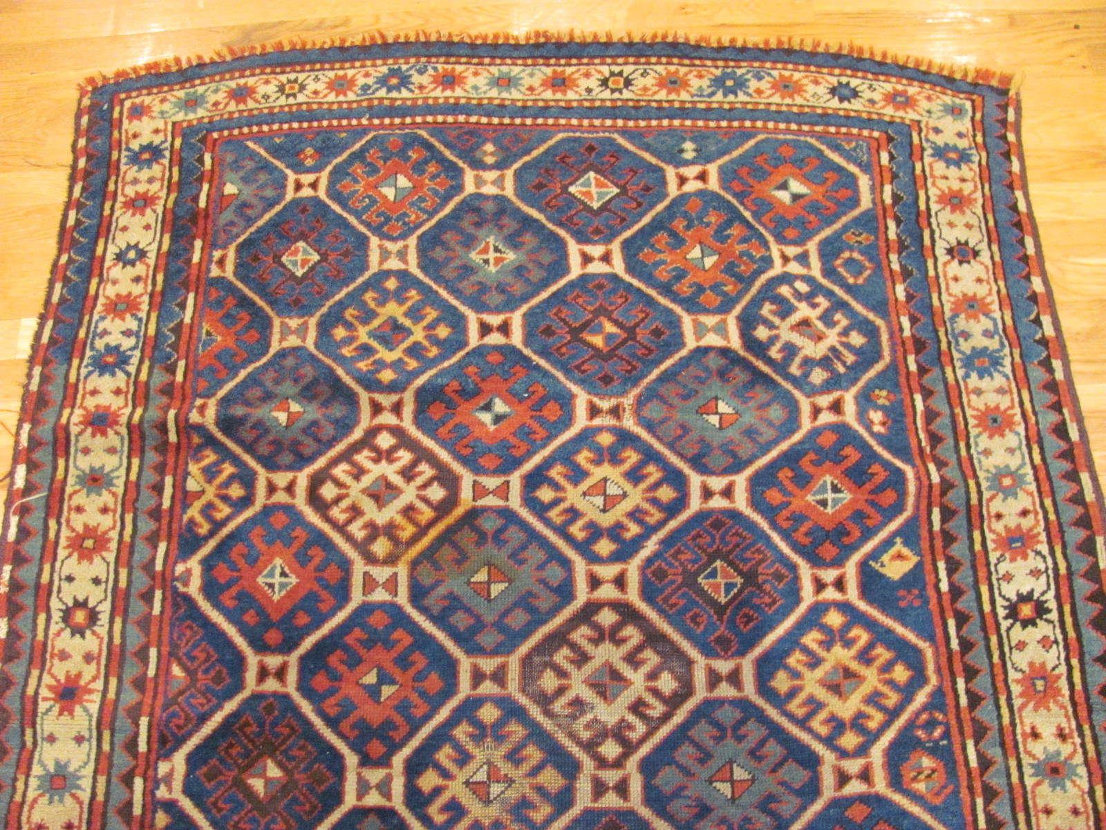 24589 antique Caucasian Kazak rug 4,1 x 6,7 -1