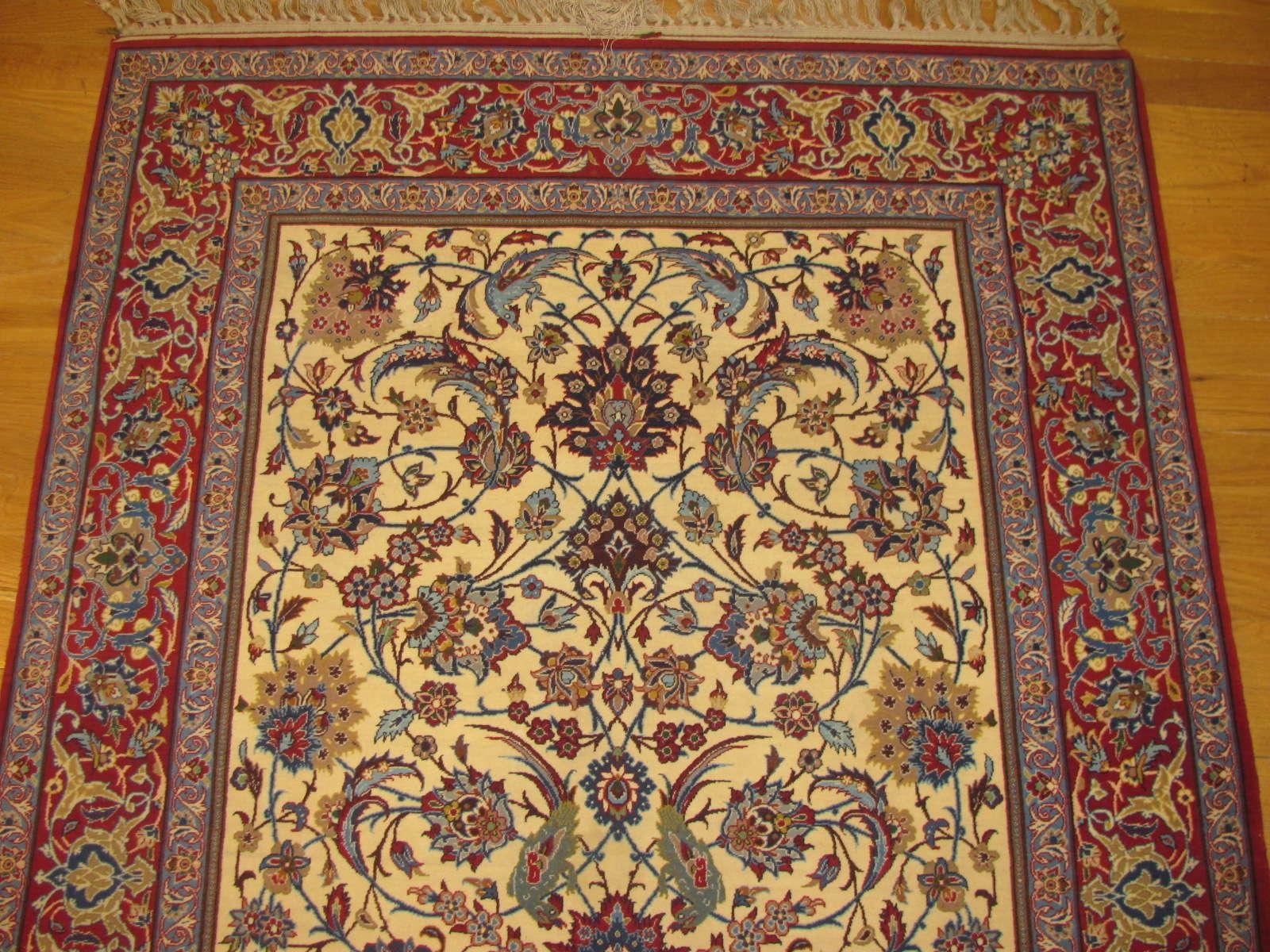 24661 persian Isfahan kork wool & silk rug 3,5 x 5,3 -1