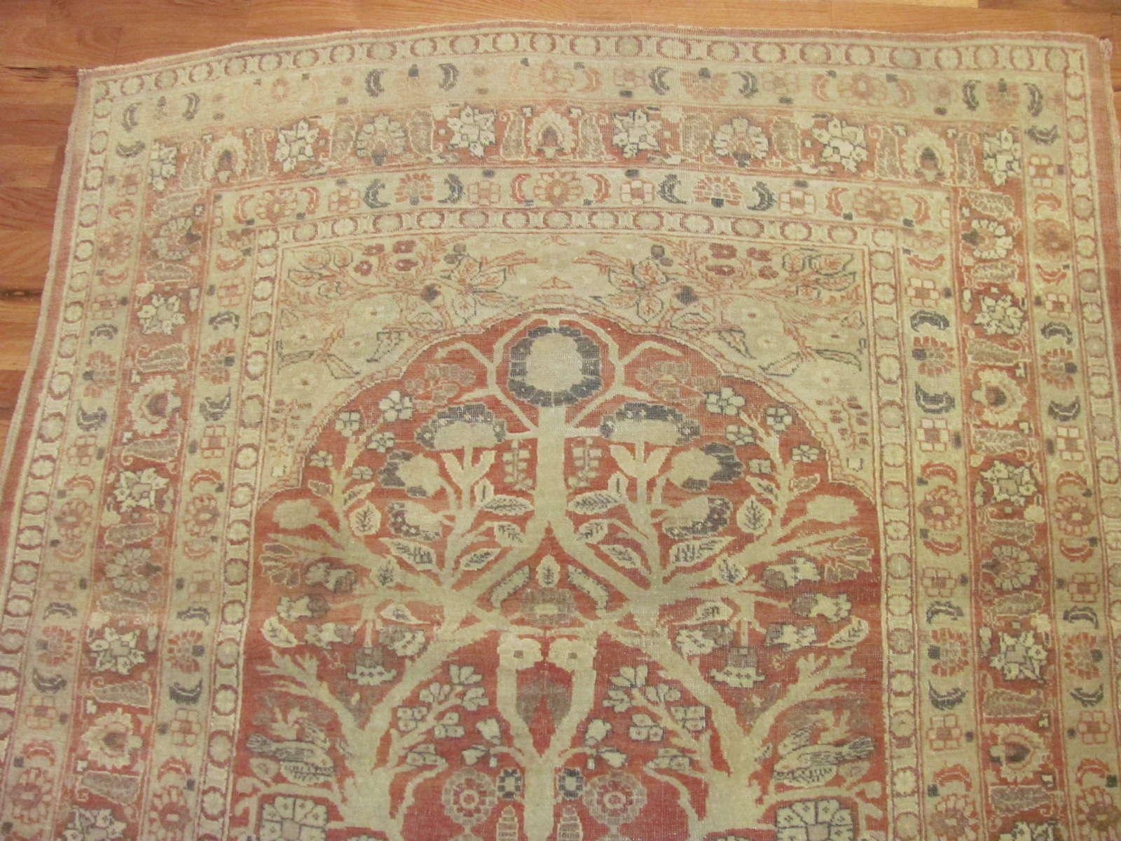 24668 antique persian tabriz prayer rug 4 x 4,8 -1