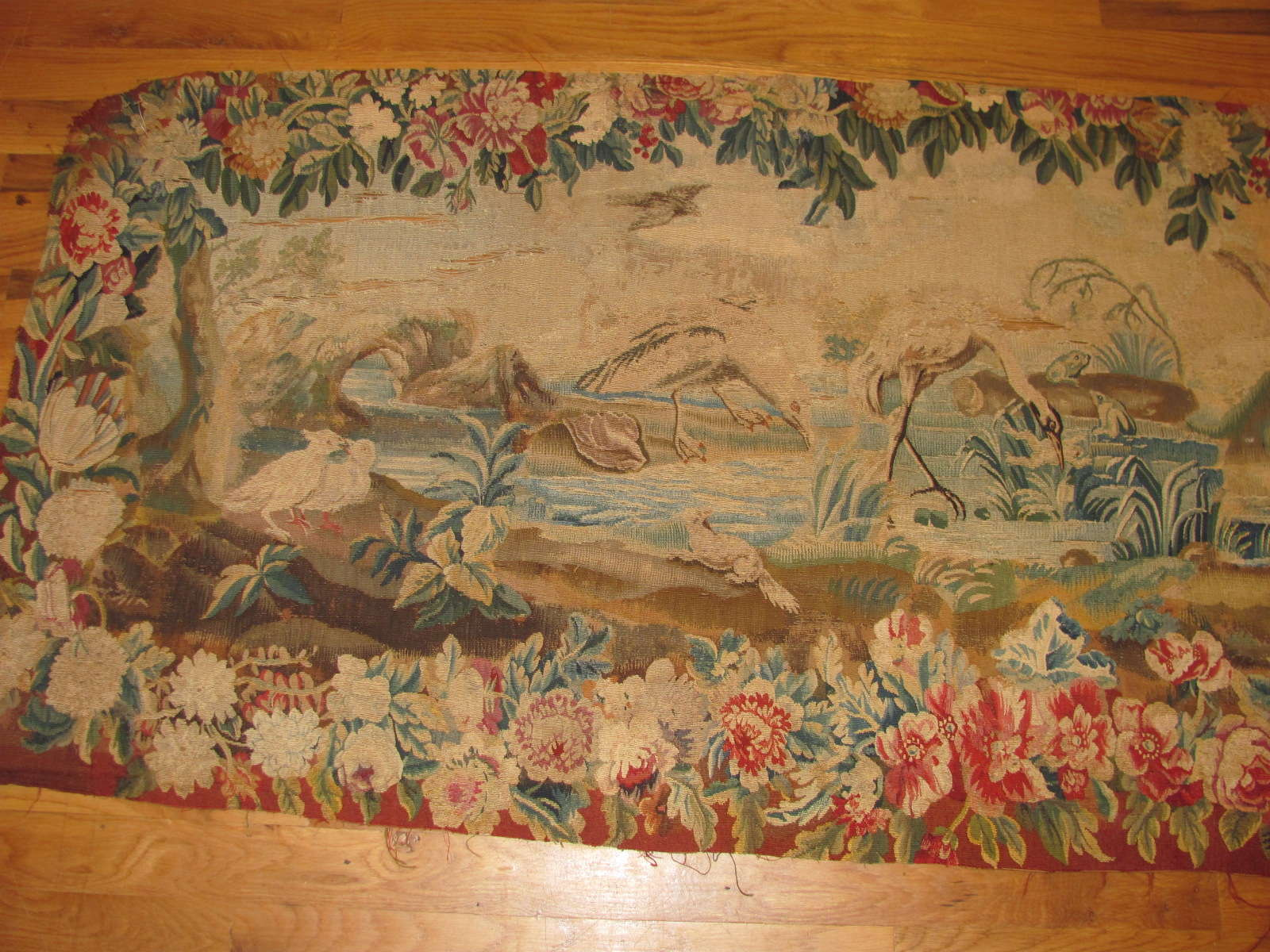 24692 antique french aubusson tapestry 2,4 x 5,7 -2