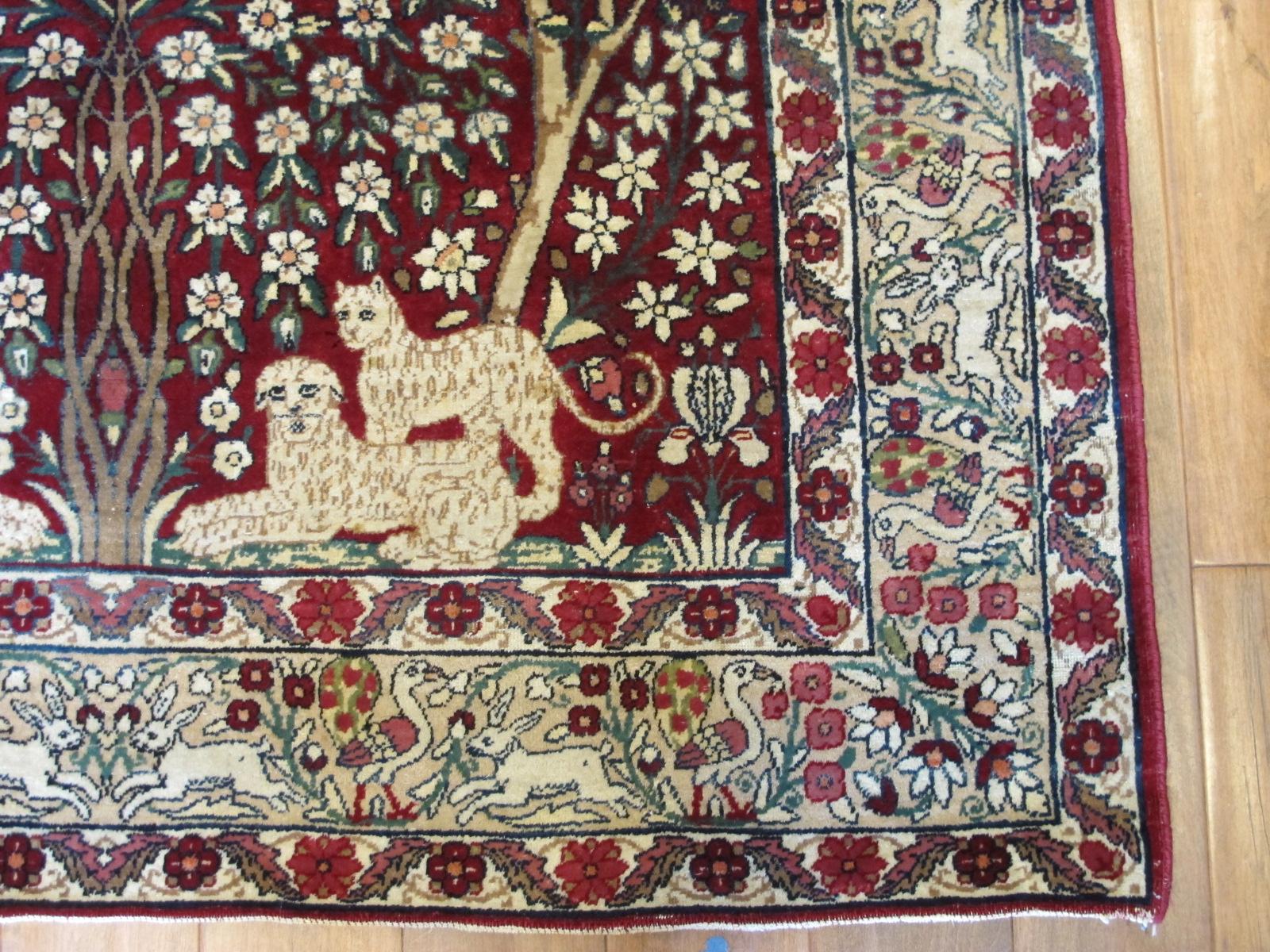 21427 antique persian kerman laver rug 4,6 x 6,4 (3)