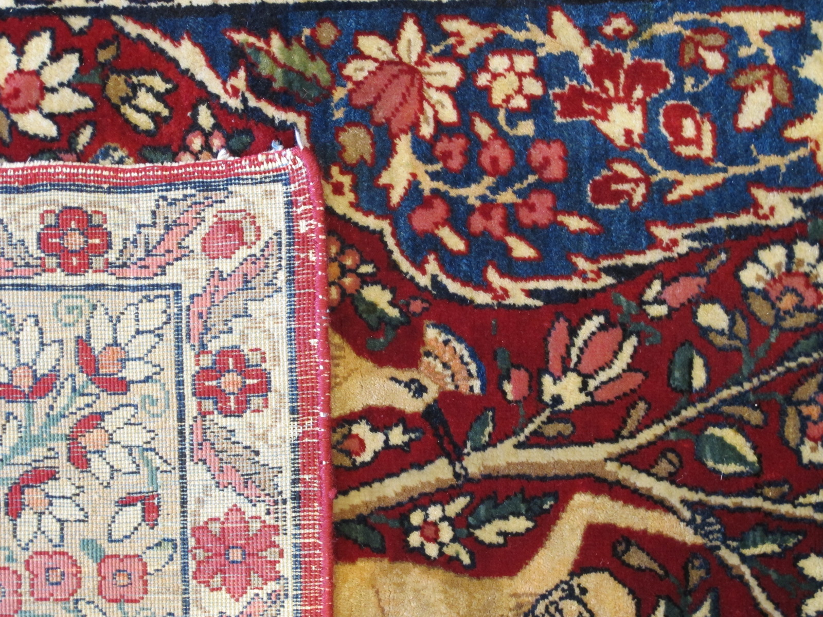 21427 antique persian kerman laver rug 4,6 x 6,4 (4)