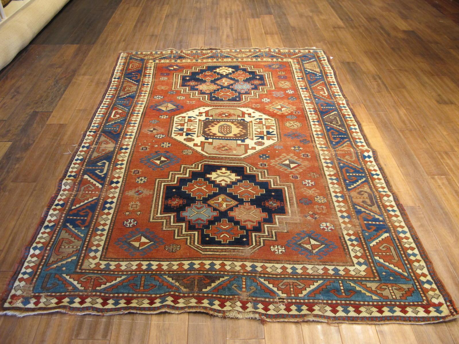 23087 antique caucasus kazak rug 5,2x7,4 (2)