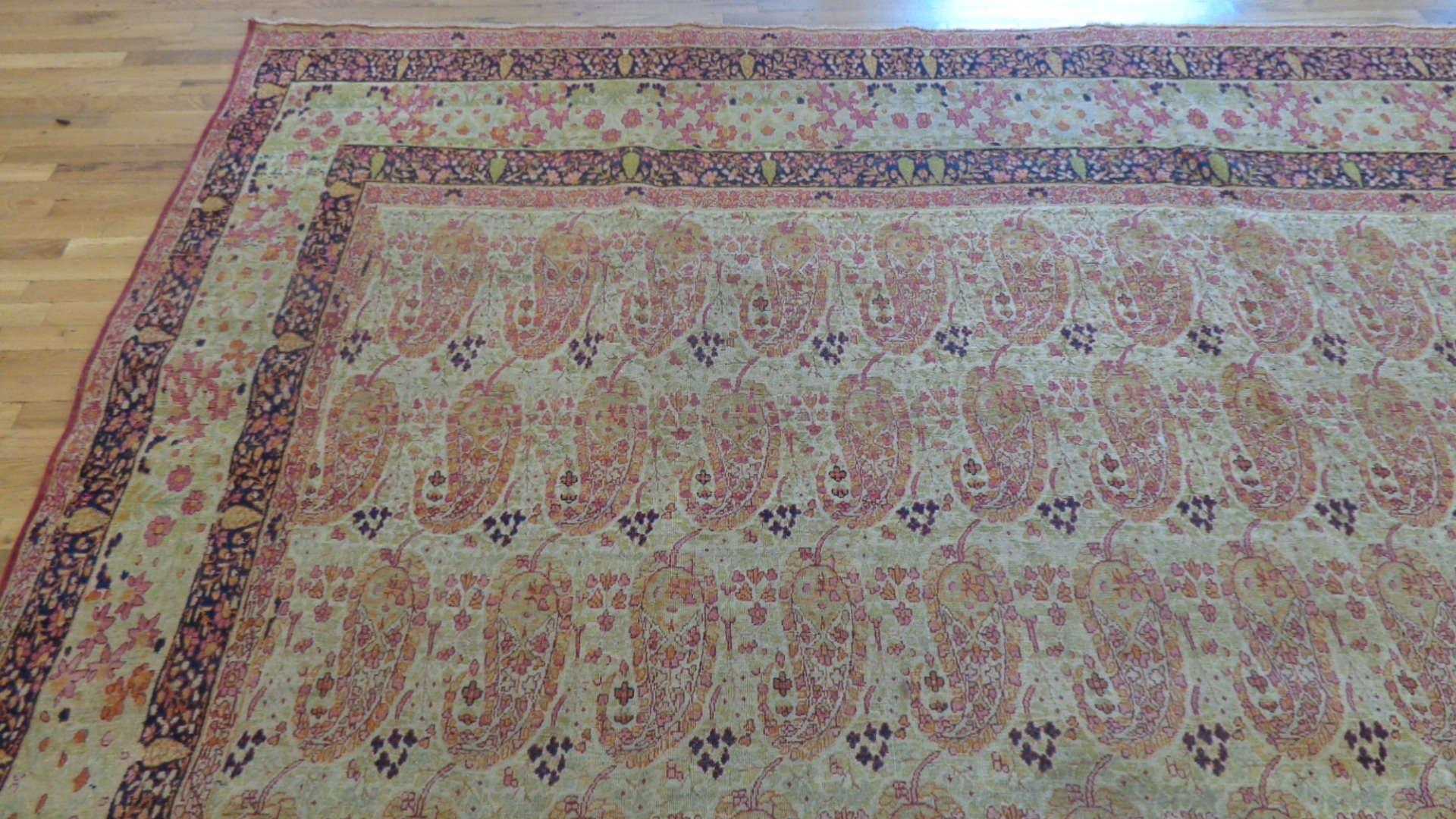 24772 antique persian kirman lavar carpet 9,6 x x14,11-1
