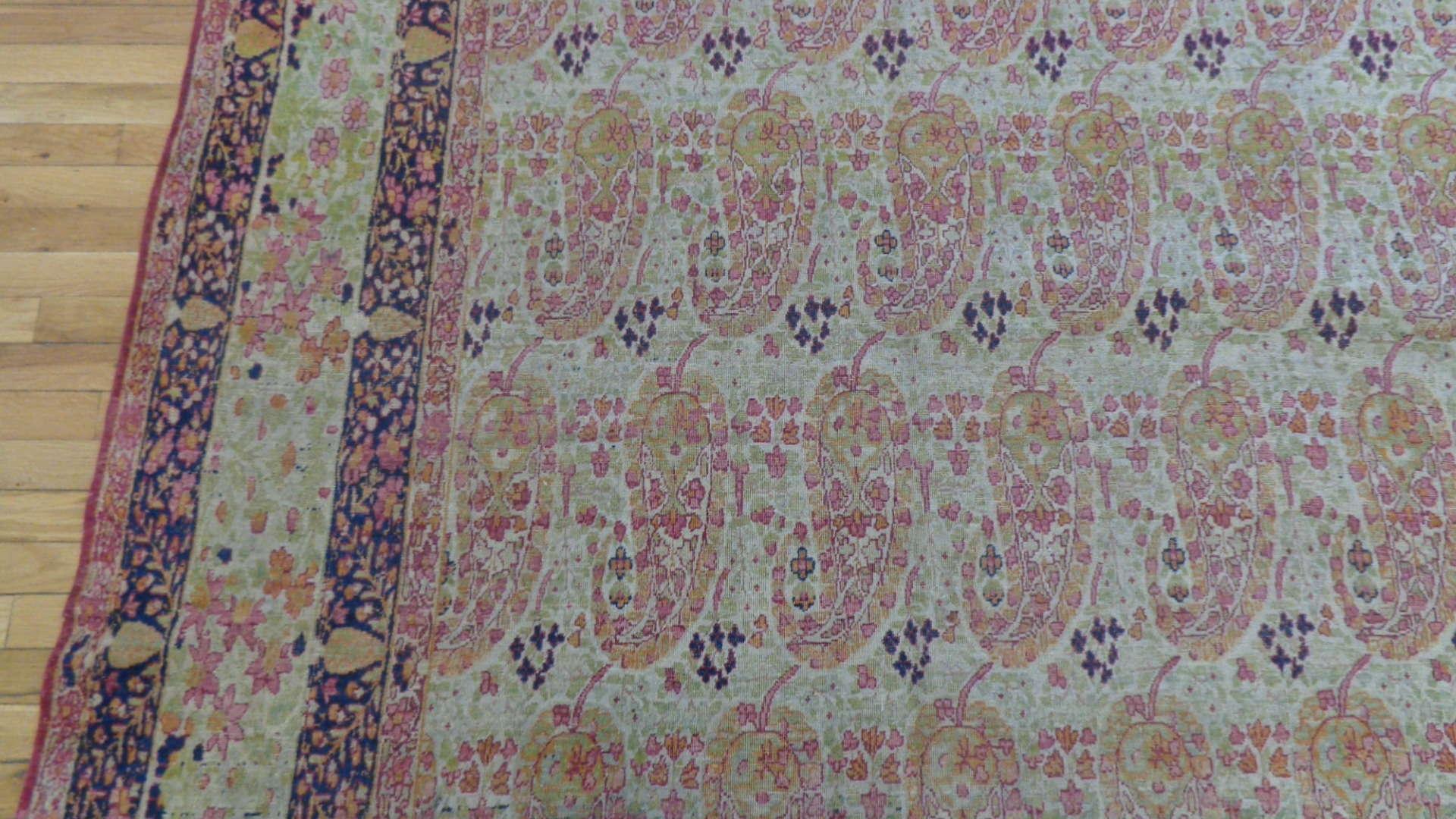 24772 antique persian kirman lavar carpet 9,6 x x14,11-2