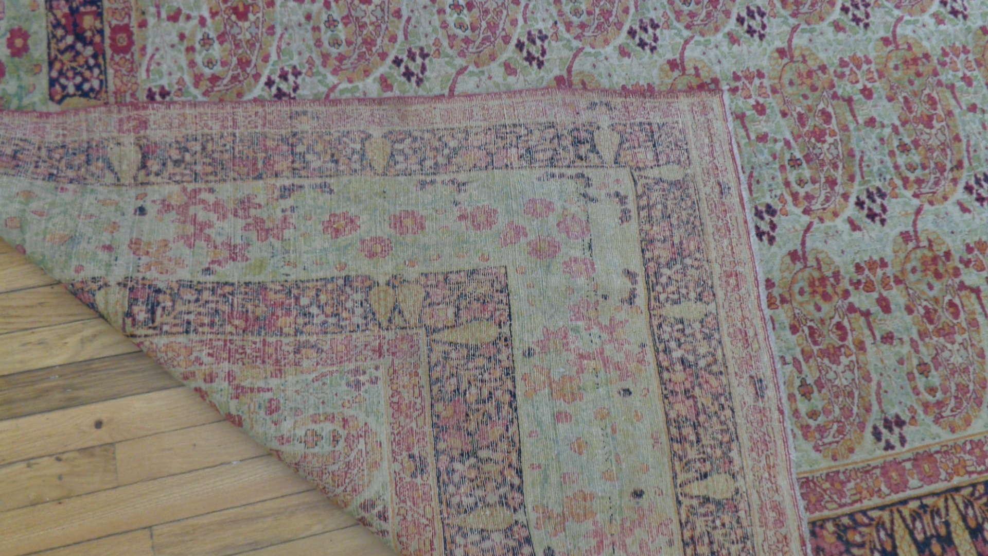 24772 antique persian kirman lavar carpet 9,6 x x14,11-3