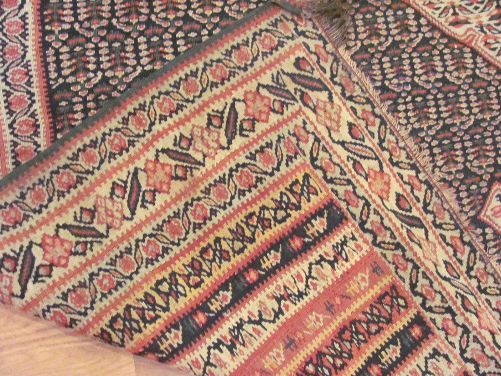 24874 antique persian senneh kilim rug 4,4x6,11-3