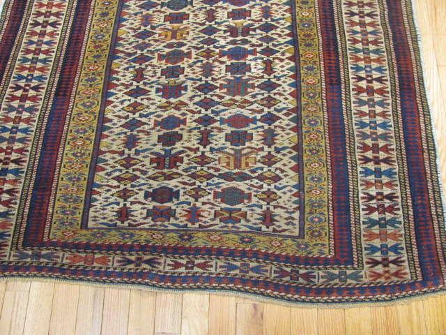 25107 antique caucasian shirvan rug 3,10 x 5-1